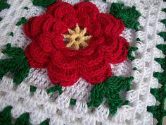 Crochet Potholder in Thread with Red Rose Flower New in Vintage Style | Flickr – Compartilhamento de fotos!