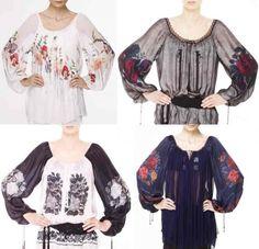 High fashion traditional Romanian blouse by Valentina Vidrascu Folk Fashion, Fashion Tag, High Fashion, Womens Fashion, Embroidery Fashion, Gorgeous Fabrics, Beautiful Blouses, Blouse Styles, Romania