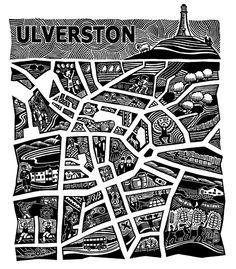 Hugh Ribbans : Ulverston The Festival Town, linocut