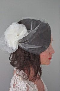 Lydia  Blusher veil with pouf by ileylove on Etsy, $89.00