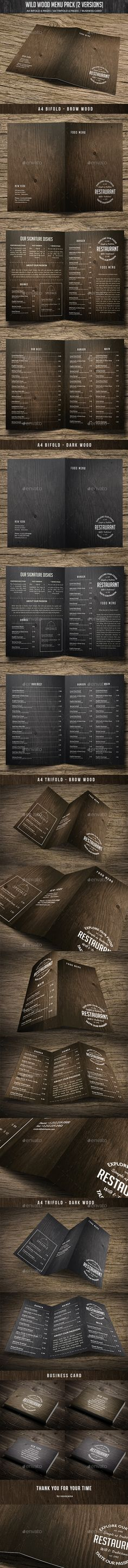 Wild Wood Menu  #cafe #classic #creative • Click here to download ! http://graphicriver.net/item/wild-wood-menu-pack-2-versions-bundle/15985148?ref=pxcr