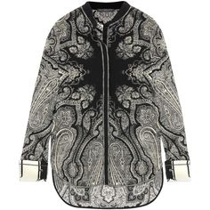Alexander McQueen Paisley-print silk crepe de chine blouse (€1.105) ❤ liked on Polyvore featuring tops, blouses, black, alexander mcqueen top, silk blouse, paisley print blouse, silk tops and paisley top