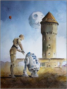 C3PO and R2D2. Paintings of Star Wars worlds in Watercolors. See more art and information about Grzegorz Chudy, Press the Image.