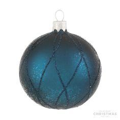 Luxe glazen kerstbal mat petrol glitter lijnen 7 cm ds