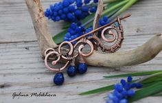 Brooch copper, brooch copper wire, lapis lazuli brooch, pin copper wire, lapis lazuli pin, handmade brooch, handmade copper brooch, pin wire