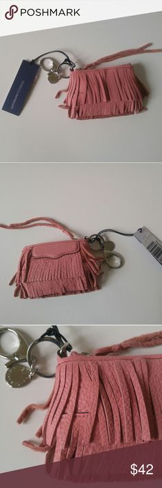 "NWT Rebecca Minkoff Finn Key Fob Purse Charm Brand new with tags!  Color: Melon ""Talk about fringe benefits. Add some swish to any bag, backpack or keychain with this tiny version of our Finn crossbody. Heavy-duty clips make sure it stays put, too."" 4.5""W x 4""H x 1""D Genuine leather Custom light gold hardware  *I offer 10% off bundles of 2+ items!* Rebecca Minkoff Bags"