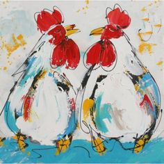 Schilderij twee kippen slapende kippen kipjes