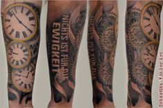 Biomechanic Tattoo done by Sebastian Winder Tattooartist from Germany/Essen www.unbunt-tattoo.de   #tattoo #tattooartist #tattoodesign #tattooidea #watchtattoo Uhr Ritzer Zahnräder Clock Uhrzeit Böhse Onkelz #realistictattoo