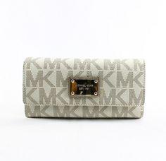 Michael Kors Womens Vanilla PVC Signature Checkbook Wallet – HandbagChica