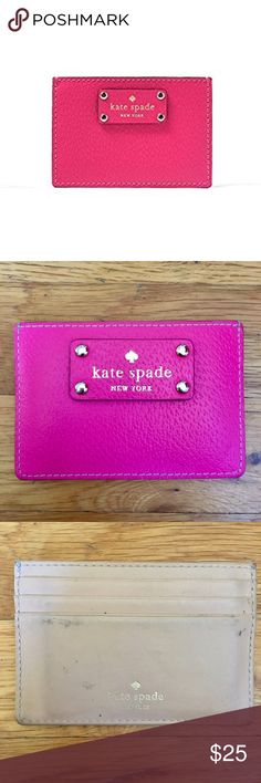 Kate Spade Wellesley Graham Card Holder Beautiful bright pink card holder from Kate Spade. Used many times and has some marks on the leather which can likely be cleaned off with leather cleaner. kate spade Bags Wallets