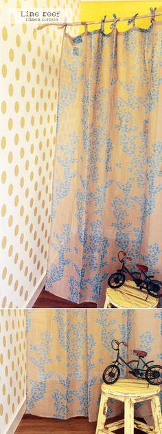 【リボンカーテン】ラインリーフ(BE)  カーテン通販【Curtains】
