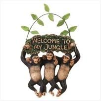 """Three little monkeys swinging on a vine make up this darling """"Welcome"""" sign!    Alabastrite. 7 3/4"""" x 2 1/4"""" x 10 3/4"""" high."""