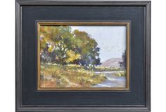 California landscape by local artist Kris Buck. Displayed in a black wood frame. Signed lower right.