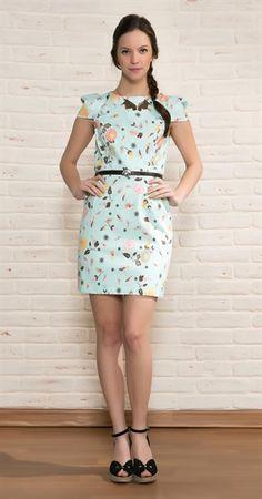 Vestido Piquet Pássaros e Flores Cinto