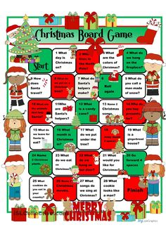 A collection of English ESL worksheets for home learning, online practice, distance learning and English classes to teach about christmas, christmas English Worksheets For Kids, English Games, English Activities, English File, Christmas Board Games, Christmas Activities For Kids, Christmas Holidays, Xmas Games, Christmas Worksheets