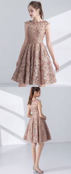 Cute A line short prom dress, homecoming dress