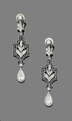 A pair of art deco diamond and enamel pendent earrings,