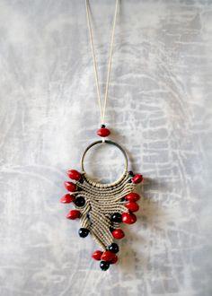 macrame pendant/ethnic necklace/boho chic/asymmetric design on circle/handmade jewelry by EnjoyITcrafts on Etsy Handmade Jewelry, Unique Jewelry, Handmade Gifts, Asymmetrical Design, Boho Necklace, Boho Chic, Drop Earrings, Etsy, Pendant