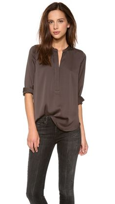 Vince Zip Placket Top - stretch silk crepe