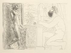 Picasso - 1933, Nude bearded sculptor working on statue with model (Marie Thérèse) posing