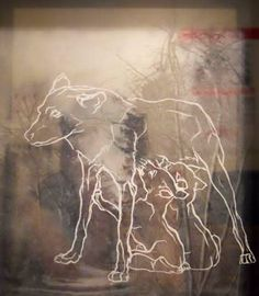 Romulus and Remus. Drawing on glass. Nicole Norton. 2010.