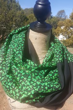 Lucky Shamrock St. Patrick's Day Infinity Scarf Black, Green and Gold Glitter Womens. Two Tone Infinty Scarf by SFEDivaGiftsBoutique on Etsy