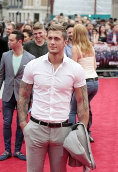light gray suit. fitted white short sleeve button down. black belt/ brogues. simple. clean. classic. style.