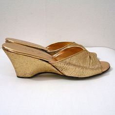 1950s GOLD LAME Wedges                 I remember women wearing these!