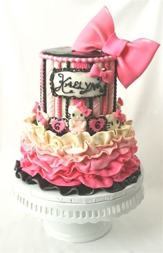 not a fan of Hello Kitty but i like the ruffles and colors of this cake