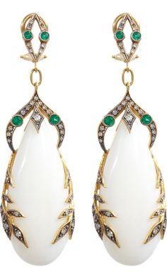 Cathy Waterman - Coral, emerald and diamond garland earrings.