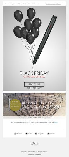 Black Friday Sale Email from LIX PEN #EmailMarketing #Email #Marketing #BlackFriday #Pen #Retail #Black #Friday #Sale Sale Emails, 25 November, 50 Off Sale, Email Marketing, Black Friday, Retail, Sleeve, Retail Merchandising