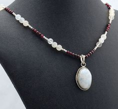 Moonstone Garnet Pendant Necklace, Gemstone Necklace, January Birthstone, June Birthstone