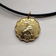 1953 Paraguay 15 centimos coin pendant charm necklace jewelry Seated lion staff and liberty cap Scallop shaped Coat of arms No.000330 by acnyCOINJEWELRY on Etsy