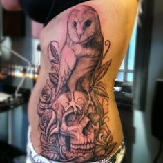 Amazing owl / skull tattoo! Ryan Needles does such incredible work ...