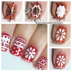 Christmas nail idea, reminds me of a sweater.