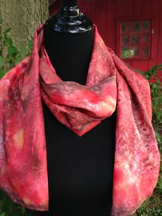 Red Silk Scarf / Hand Painted Silk Scarf / Fall by KismetColor