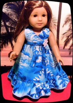 This breezy Hawaiian beach dress was designed especially for 18 inch American Girl Kanani. Dress is designed and handcrafted by me in the USA.