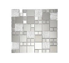 Metallic Random Silver Mix Mosaic from Topps Tiles per tile Mosaic Wall Tiles, Kitchen Wall Tiles, Mosaic Glass, Tile Care, Topps Tiles, Tile Stores, Glass Floor, Outdoor Flooring, Wet Rooms