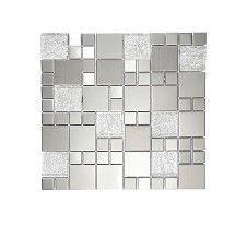 Metallic Random Silver Mix Mosaic Tile
