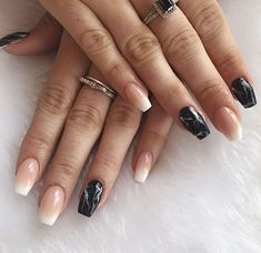 Marble French fade baby boomer acrylic nails