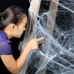 Stretchy Spider Web With Spider - Halloween