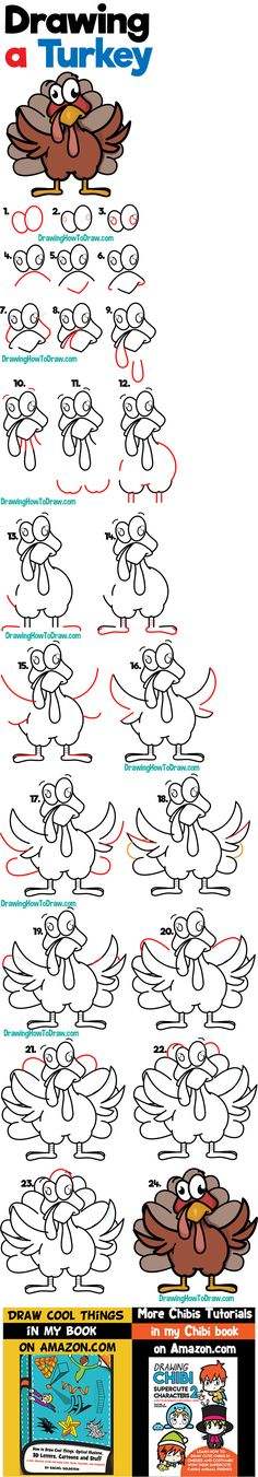 How to Draw a Cartoon Turkey for Thanksgiving Easy Step by Step Drawing Tutorial for Beginners - How to Draw Step by Step Drawing Tutorials Drawing Lessons For Kids, Art Drawings For Kids, Easy Drawings, Art For Kids, Teach Kids To Draw, Learn To Draw, Kawaii Drawings, Cartoon Drawings, Thanksgiving Drawings
