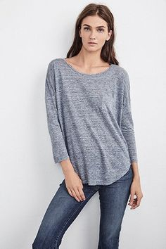 Velvet by Graham & Spencer Joretta Linen Knit Tee - Graphite