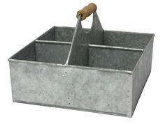 Metal 4 Slot Square Caddy with Wood Grip Handles