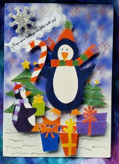 Christmas card,  penguins,  collage