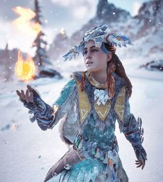 finally! discovered a new magic trick to keep herself warm in the snow _________________________________ Check out these pages for some awesome pi... - Horizon Zero Dawn (@i.am.the_z)