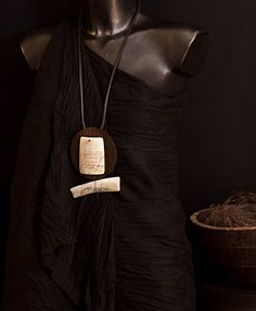 Wood necklace: Macassar ebony and zebu horn necklace