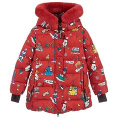 a6f25490bcfb Girls Red Down Jacket for Girl by Dolce  amp  Gabbana. Discover more  beautiful designer. Childrensalon