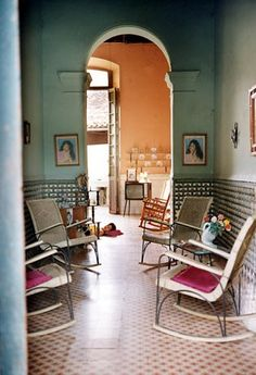 Havana interior - Love the colors, the rocking chairs, the tile floor - photo by Tria Giovan