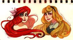 Ariel and Aurora: Concept Art by ZARINAABZALILOVA on DeviantArt